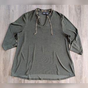 Chico's | Traveler's | green blouse
